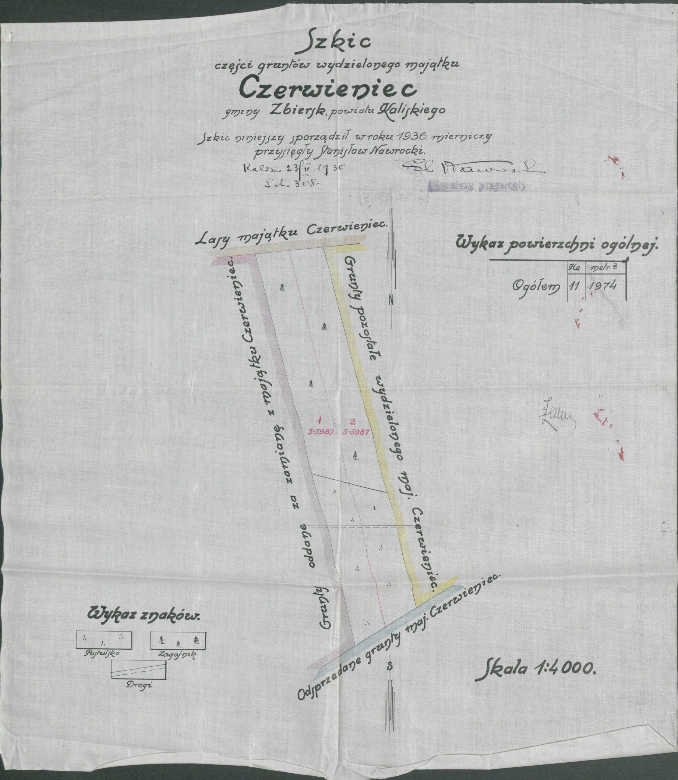 Mapa Czerwieńca - rok 1936